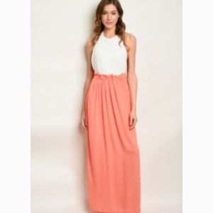 Sleeveless High Neck Fitted Waist Maxi Dress